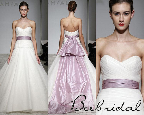 wedding dress with purple