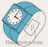 Bước 19: Dán mặt đồng hồ để hoàn thành cách xếp cái đồng hồ bằng giấy theo phong cách origami.