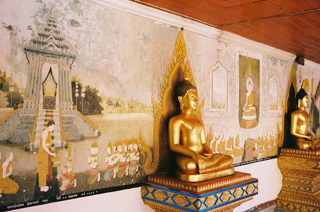 Color film Photography Bangkok of temple