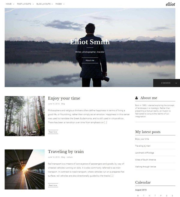 Elliot blogging theme for wordpress