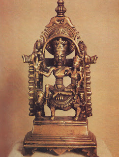 Uma-Maheshvar riding across the cosmos on the Nandi bull; Bronze image from Himachal Pradesh.