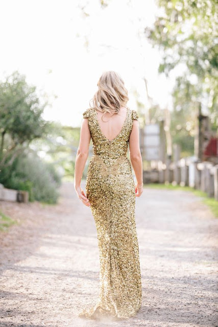 Golden Sequined Bridesmaids Evening Gown
