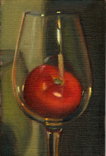 Oil painting of a tomato inside a large wine glass.