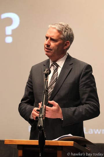 Lawrence Yule, mayor, Hastings District Council, speaking at a public meeting about local government amalgamation, hosted by A Better Hawke's Bay, at the Civic Theatre, Waipukurau. photograph