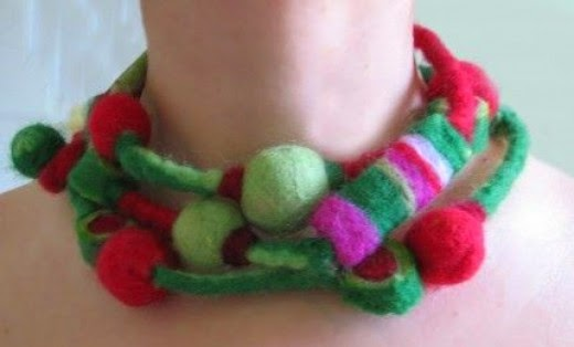Watermelons and Cherries Felt Necklace from vaivanat
