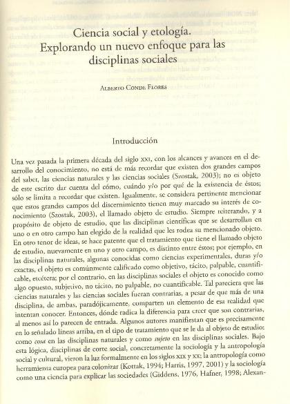 Ciencia Social y Etología.