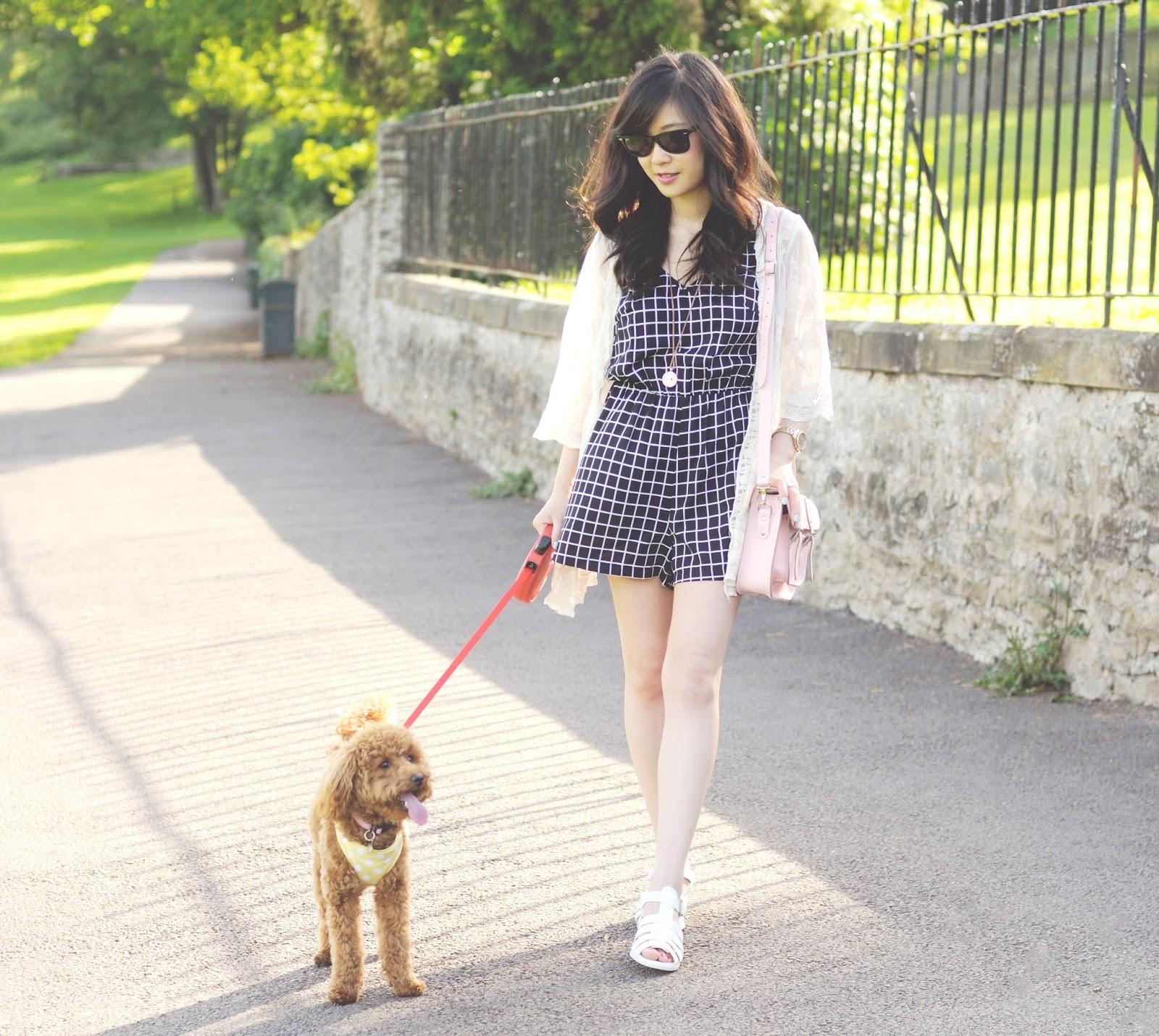 playsuit for summer, grid print playsuit, fashion blog uk