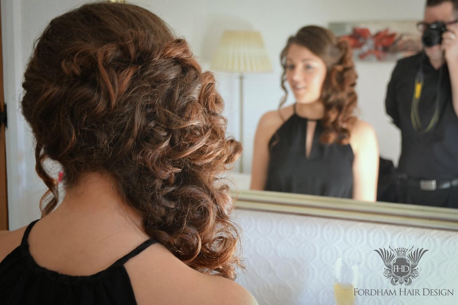 wedding hair styling at the kingscote barn