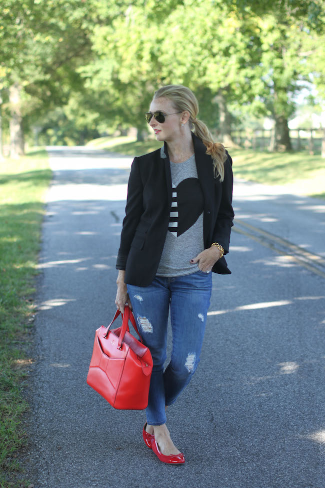 jcrew tee, jcrew blazer, current elliott jeans