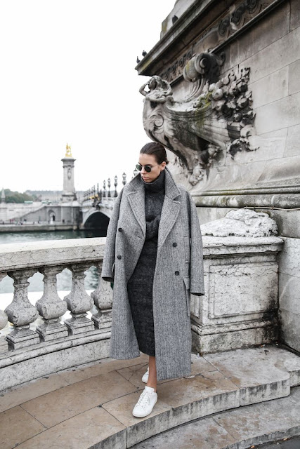 Winter essentials, all grey, Paris, street style, comfort dressing, oversized, midi knit dress, Isabel Marant Bart sneakers, Kaitlyn Ham Modern Legacy x Matchesfashion