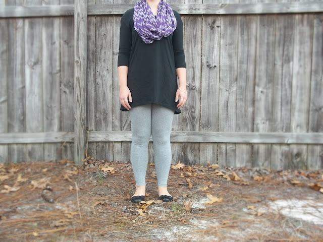 elegantees black tunic purple chevron scarf grey leggings simple jewelry black bow flats coupon code outfit inspiration casual style