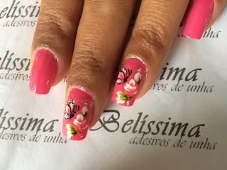 unha decorada borboleta rosa