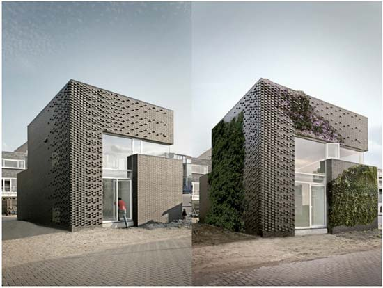 House Ijburg Textured Brick Wall Facade - modern architect
