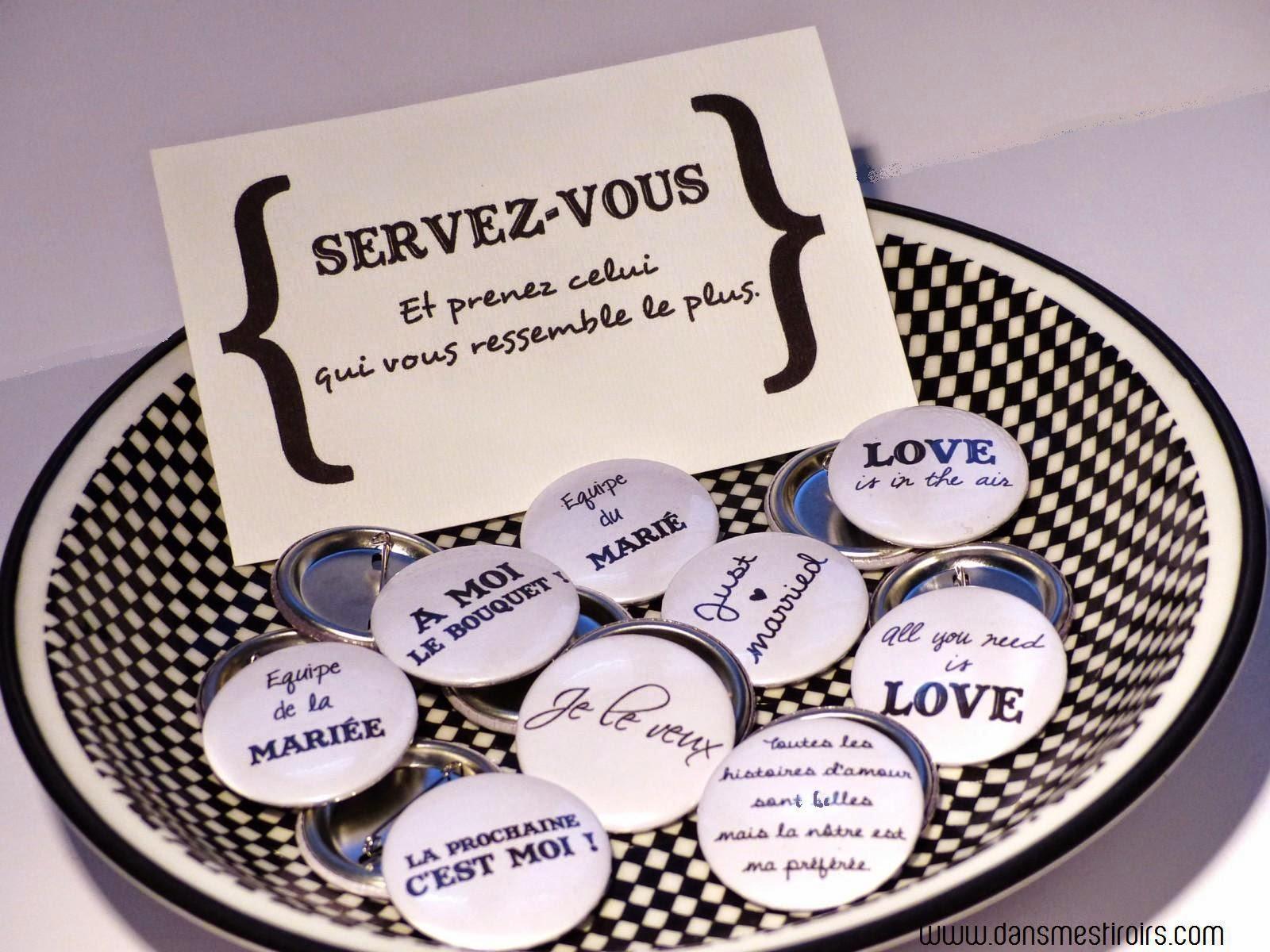 badges mariage dans mes tiroirs
