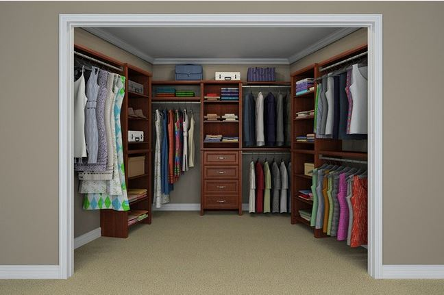 Life home at 2102 custom walk in closet options Kraftmaid closet systems