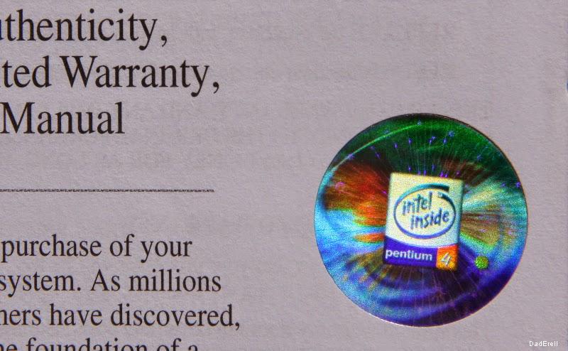 certificat d(authenticité Intel Pentium 4
