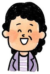 おばさんの表情のイラスト(笑い)