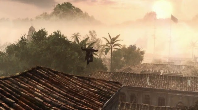 Edward Kenway leaping from rooftop to rooftop in Assassin's Creed IV: Black Flag