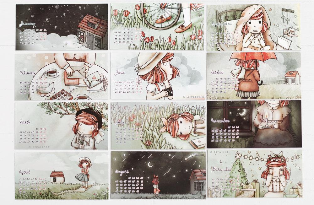 Cute Calendar Illustration : I love kawaii cute calendar with colorful