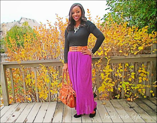 purple maxi skirt, black and brown, M Renee Design, Jewels with Style, black fashion blogger