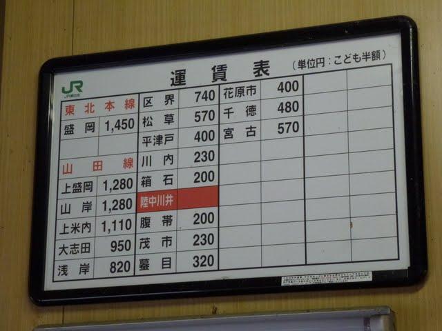 JR東日本 陸中川井駅 運賃表