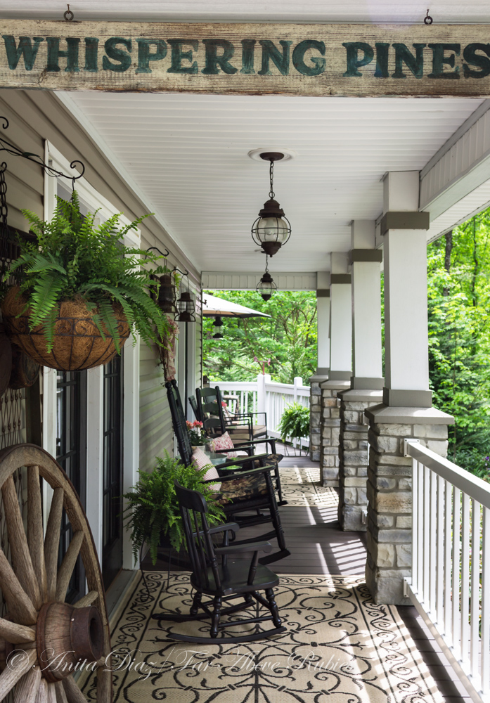 Far above rubies southern porch with vintage farmhouse style for Vintage outdoor decorating ideas