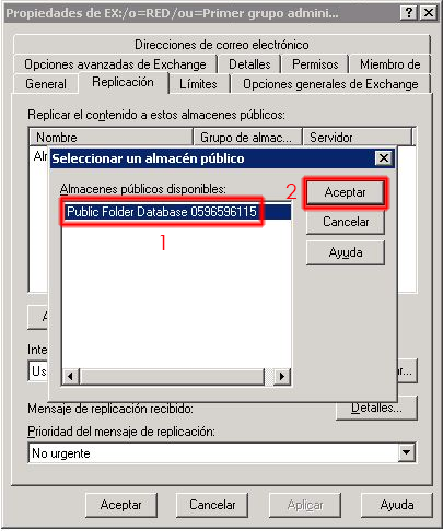 Seleccionaremos la base de datos de carpetas publicas del servidor Exchange 2010.
