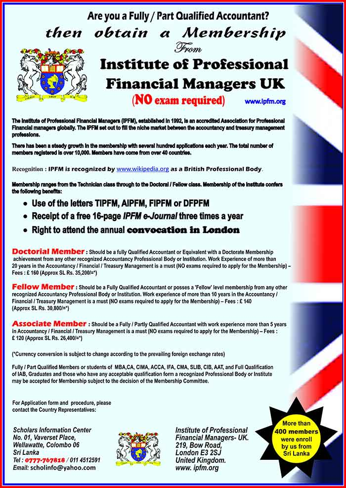 The Institute of Professional Financial Managers was established in 1992 as a UK professional body Registered in England and wales. It was established to bridge the gap between the Accountancy and Treasury professions.