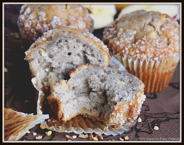 Perfect snack, or breakfast easy homemade Banana &amp; Apple Nut Muffins