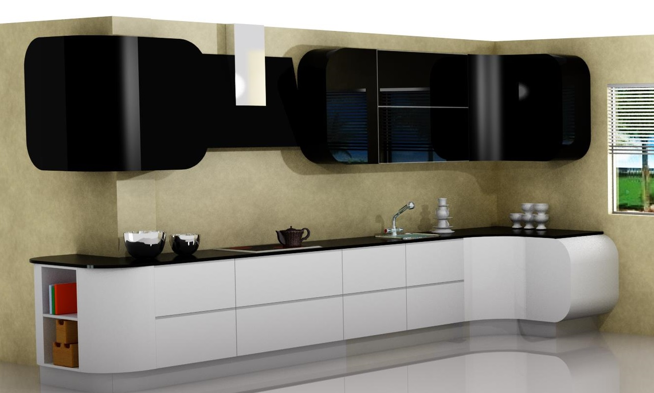 Proyectos y m s 10 cocina lacada en blanco y negro for Muebles altos y bajos de cocina
