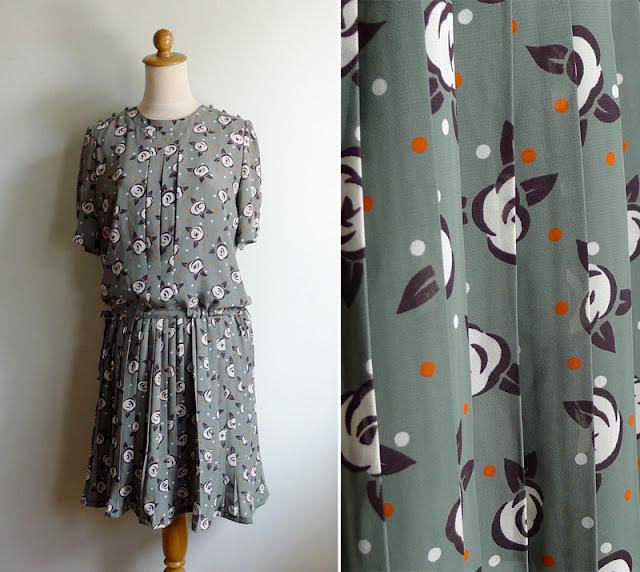 vintage green pleated drop waist dress