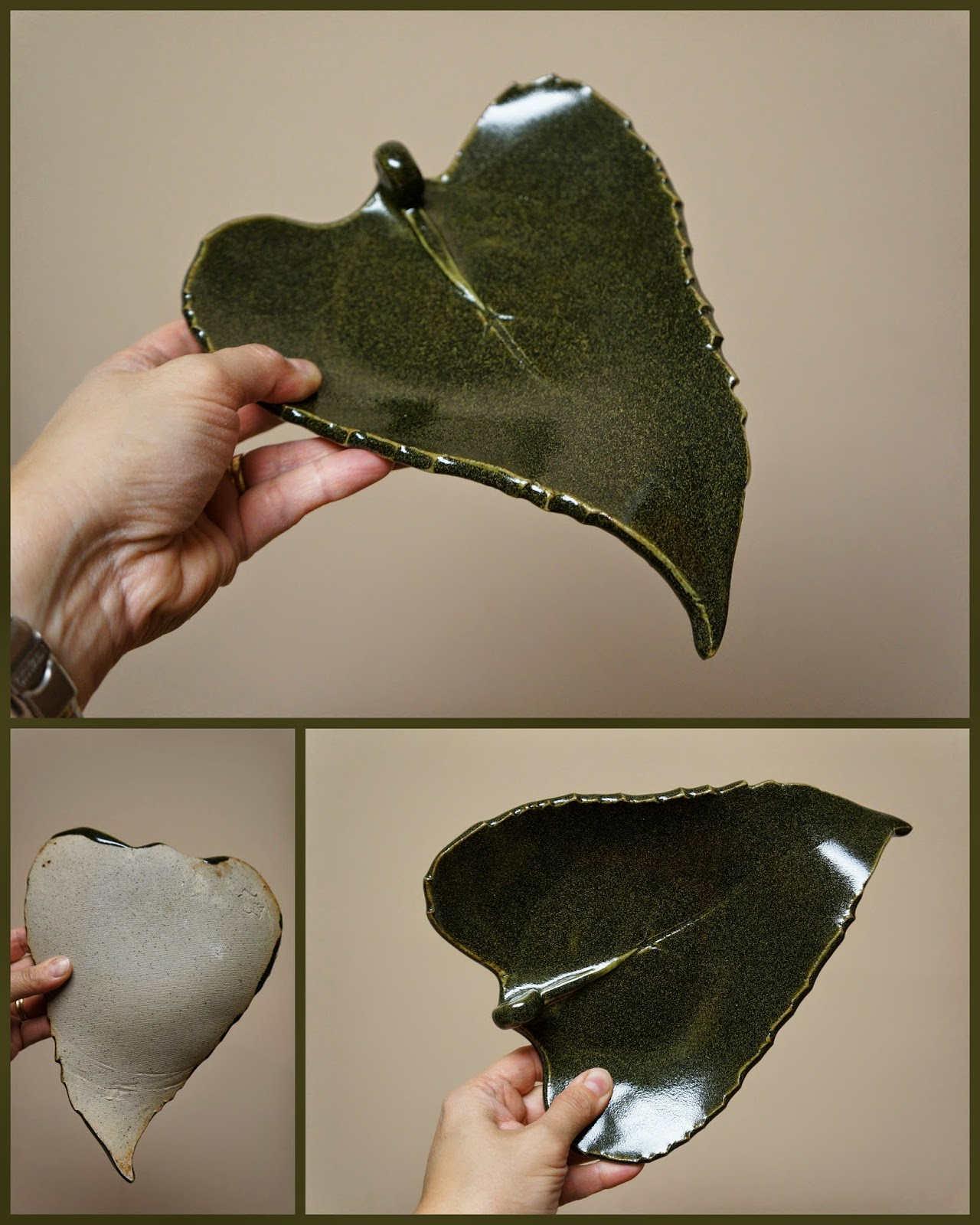 Unique handmade pottery stoneware sunflower leaf dish.