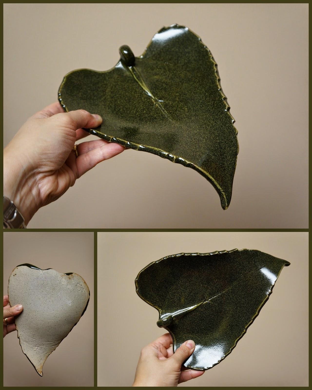 Unique handmade pottery stoneware sunflower leaf dish.