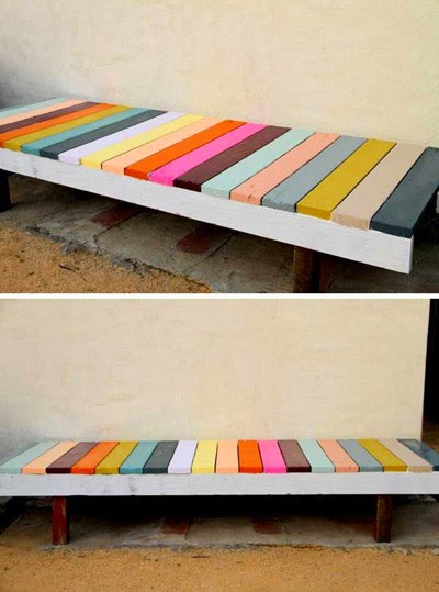 chairs with colorful pieces wood | Wooden Outdoor Furniture
