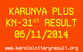 KARUNYA PLUS Lottery KN-31 Result 06-11-2014