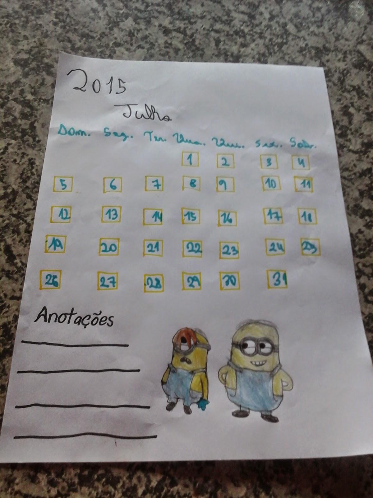 Calendário 2015 Julho