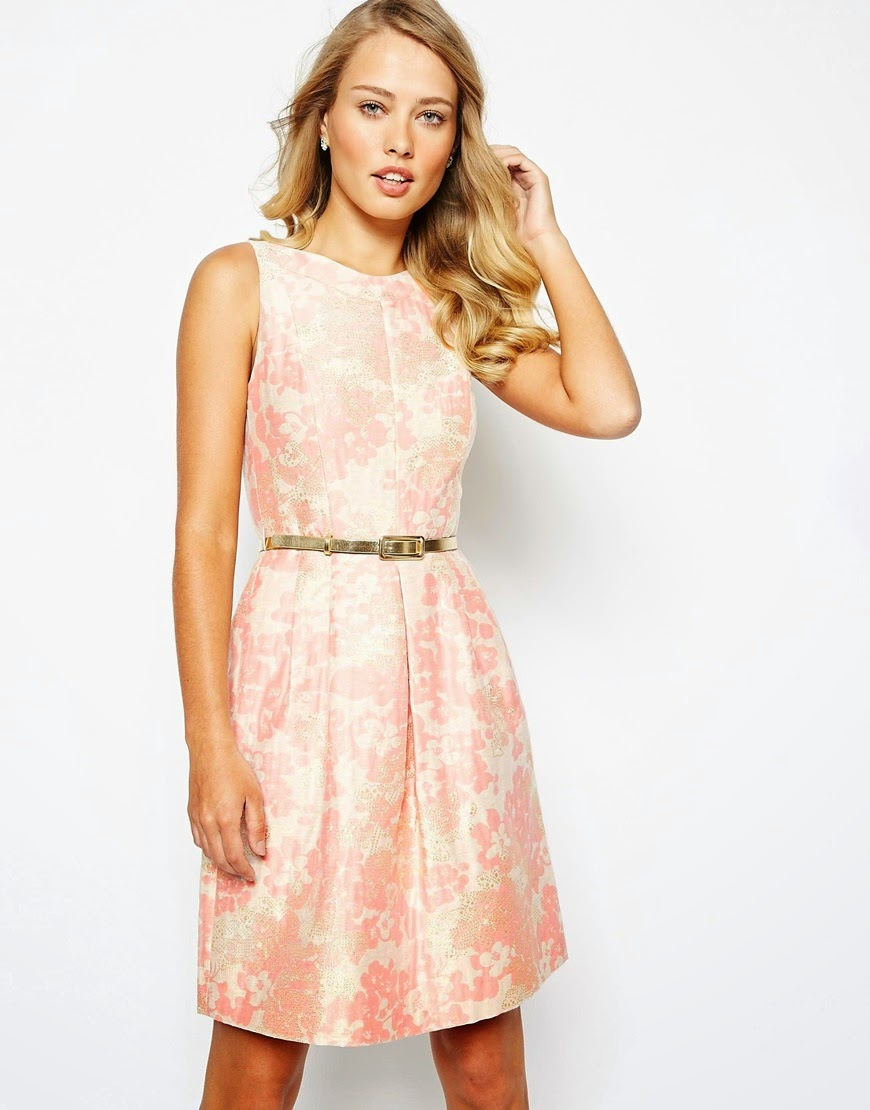 tahari coral dress, tahari dress gold belt,