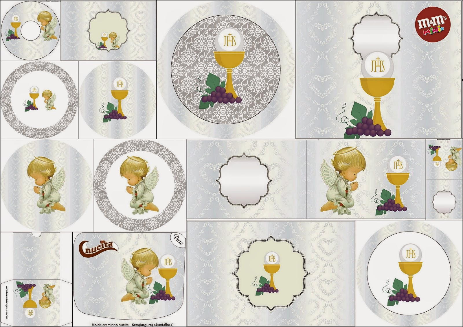 first communion free printable candy bar labels in silver with