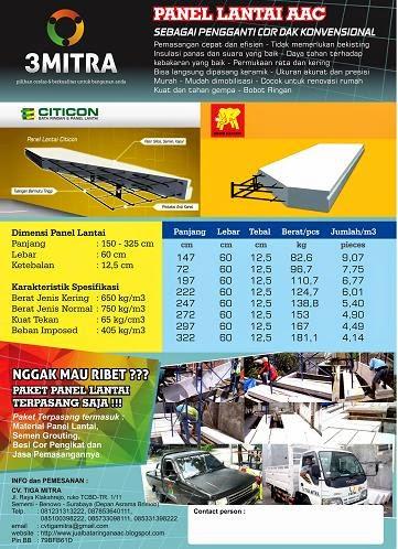 Informasi dan pemesanan jual harga murah bata ringan panel lantai semen instan di Tiga Mitra Surabaya, Malang, Jember, Banyuwangi