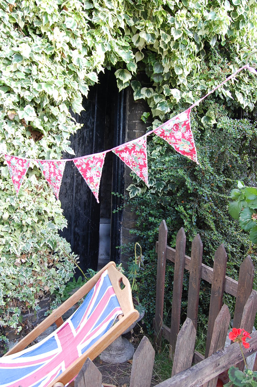 bunting and deckchair