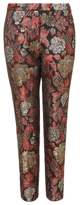 topshop chinoiserie jacquard cigarette trousers pants