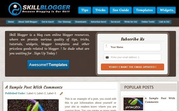 skill professional education blogger template 2014