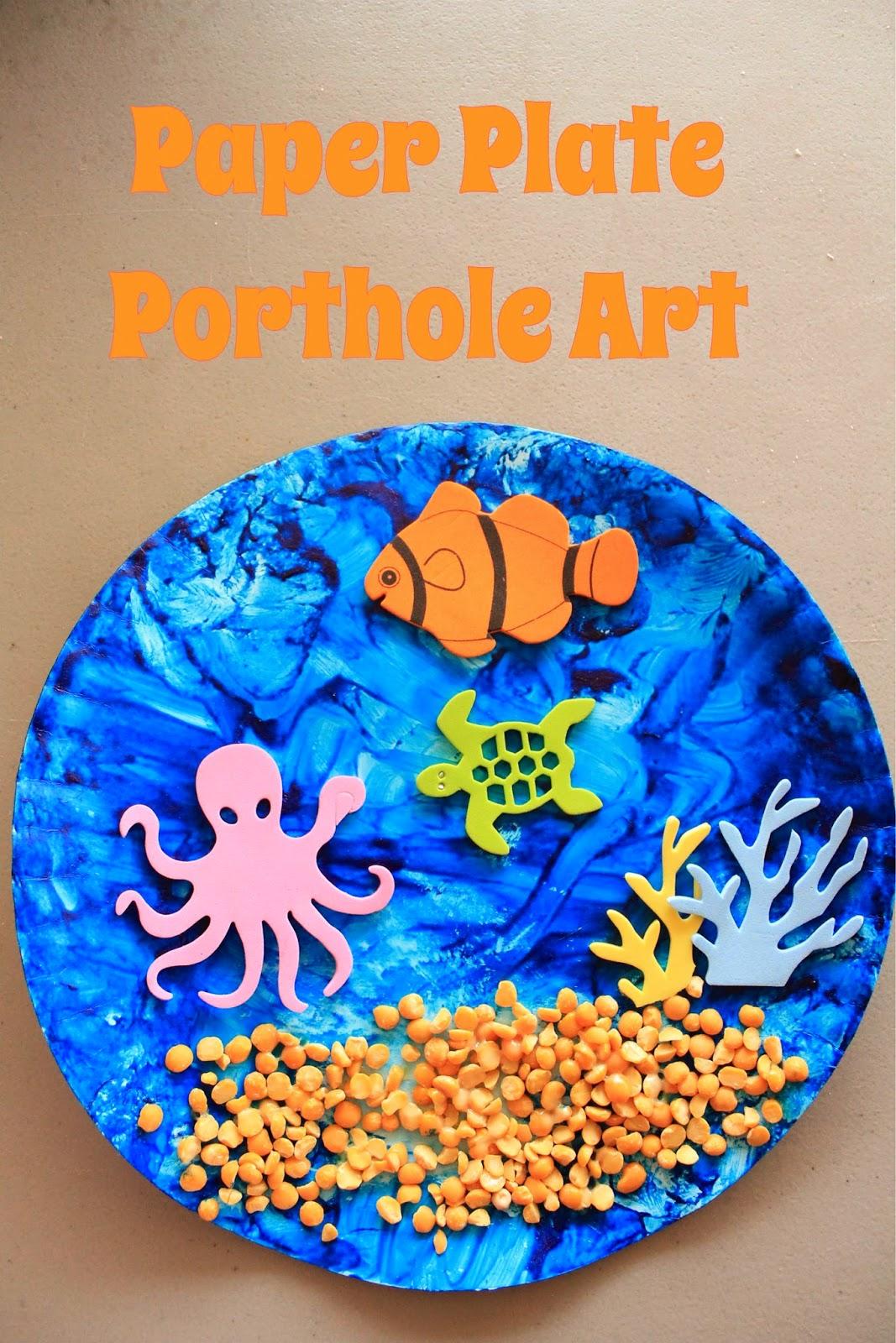 Paper Plate Porthole Art & MakingMamaMagic: Paper Plate Porthole Art