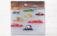 Happy Spaces Wall Art - Happy Spaces Racing Car Canvas Print. Shown on a wall.