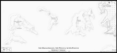 Mapa de relieve de la Isla Chacachacare, Isla Monos y la Isla Huevos, blanco y negro (TRINIDAD Y TOBAGO)