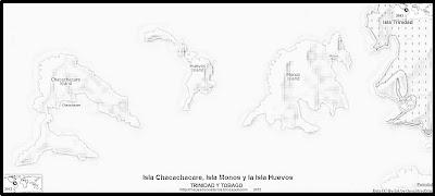 Mapa de relieve de la Isla Chacachacare, Isla Monos y la Isla Huevos, blanco y negro (TRINIDAD Y TOBAGO)
