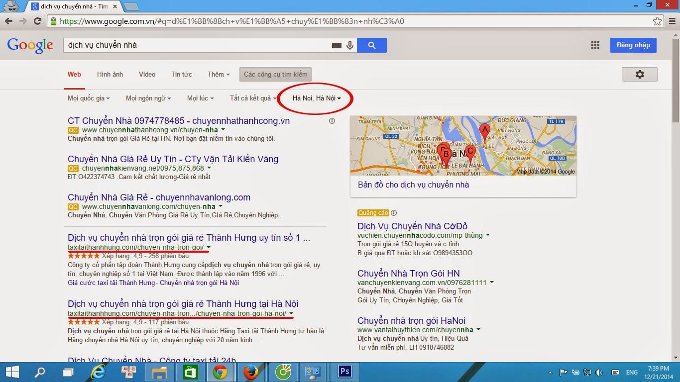 Kết quả tìm kiếm của Google phụ thuộc vào vị trí