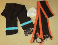 crocheted scarves and hat