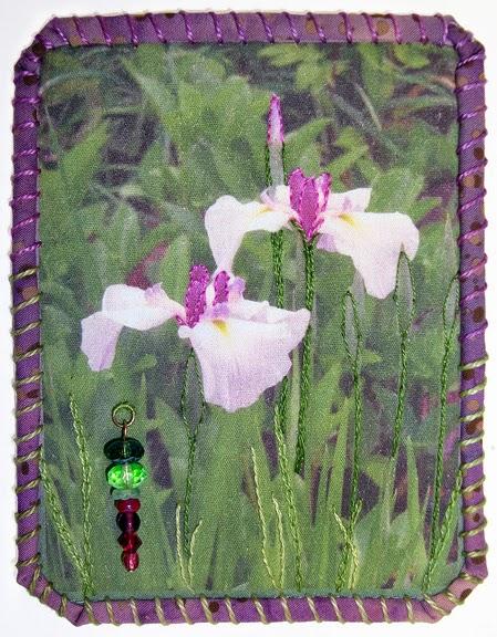 Robin Atkins, Travel Diary quilt, iris, St. Paul, MN