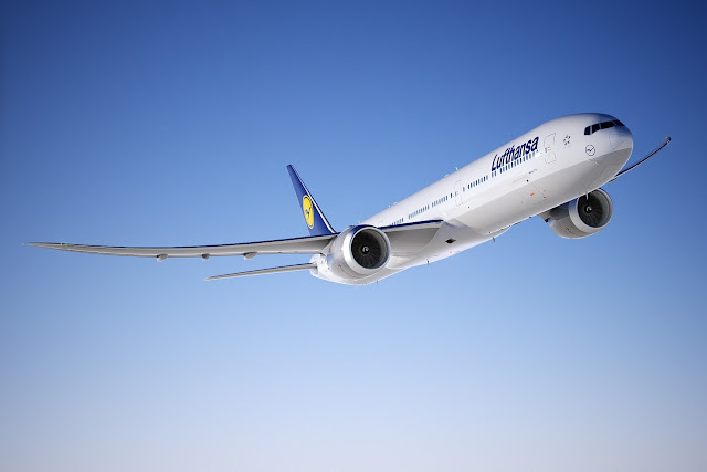 Computer generated image of Boeing 777-9X in Lufthansa livery